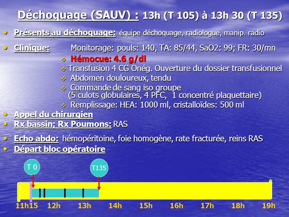 Déchoquage (SAUV) : 13h (T 105) à 13h 30 (T 135)