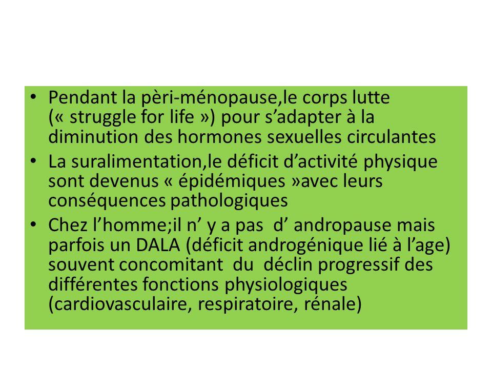 Pendant la pèri-ménopause,le corps lutte (« struggle for life ») pour s'adapter à la diminution des hormones sexuelles circulantes