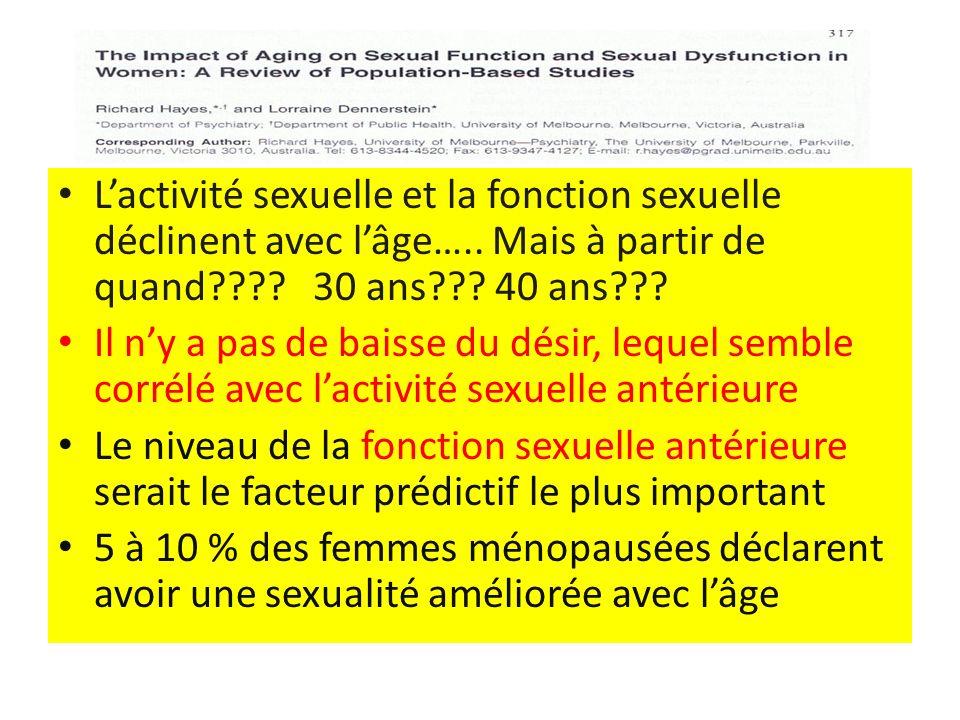 L'activité sexuelle et la fonction sexuelle déclinent avec l'âge…