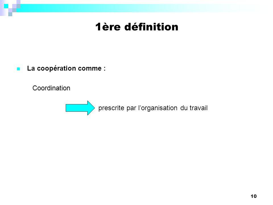 1ère définition La coopération comme : Coordination