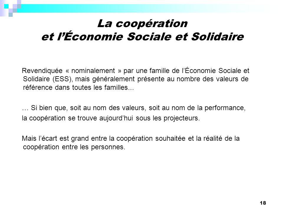 La coopération et l'Économie Sociale et Solidaire