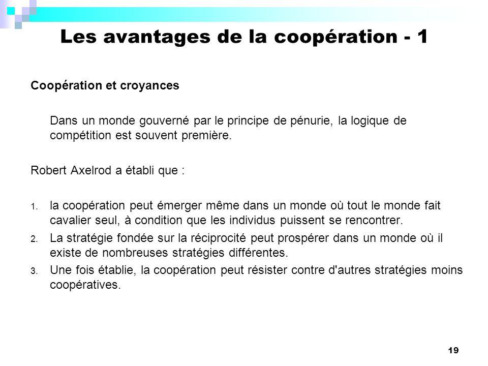 Les avantages de la coopération - 1