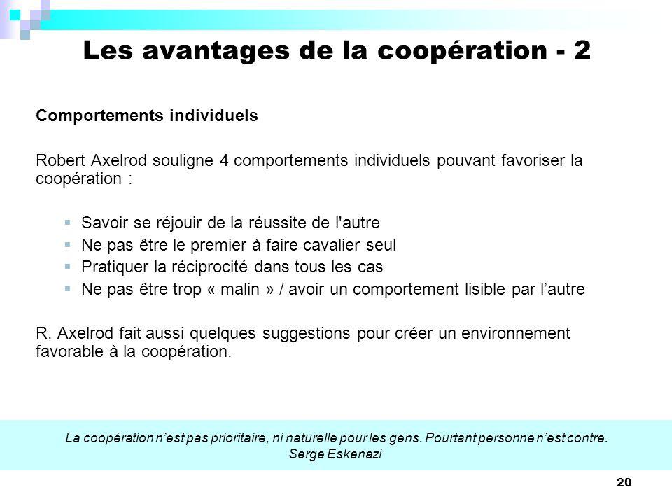 Les avantages de la coopération - 2