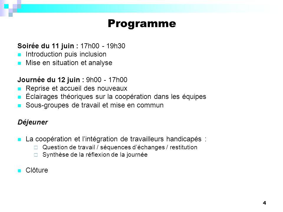 Programme Soirée du 11 juin : 17h00 - 19h30