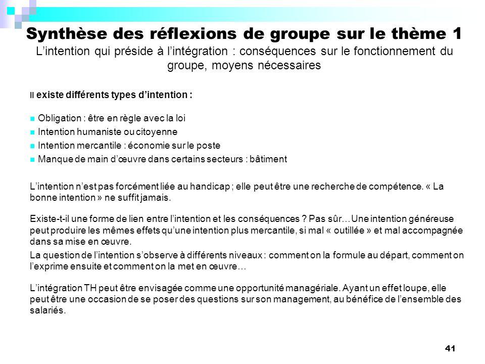 Synthèse des réflexions de groupe sur le thème 1 L'intention qui préside à l'intégration : conséquences sur le fonctionnement du groupe, moyens nécessaires