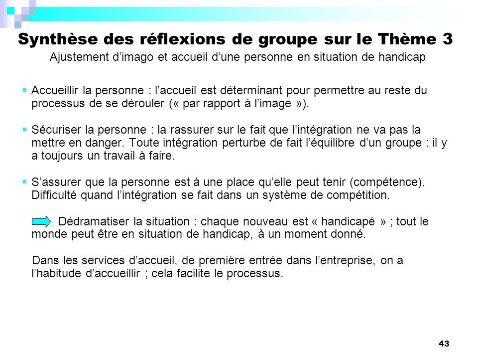 Synthèse des réflexions de groupe sur le Thème 3 Ajustement d'imago et accueil d'une personne en situation de handicap