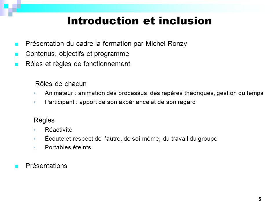 Introduction et inclusion