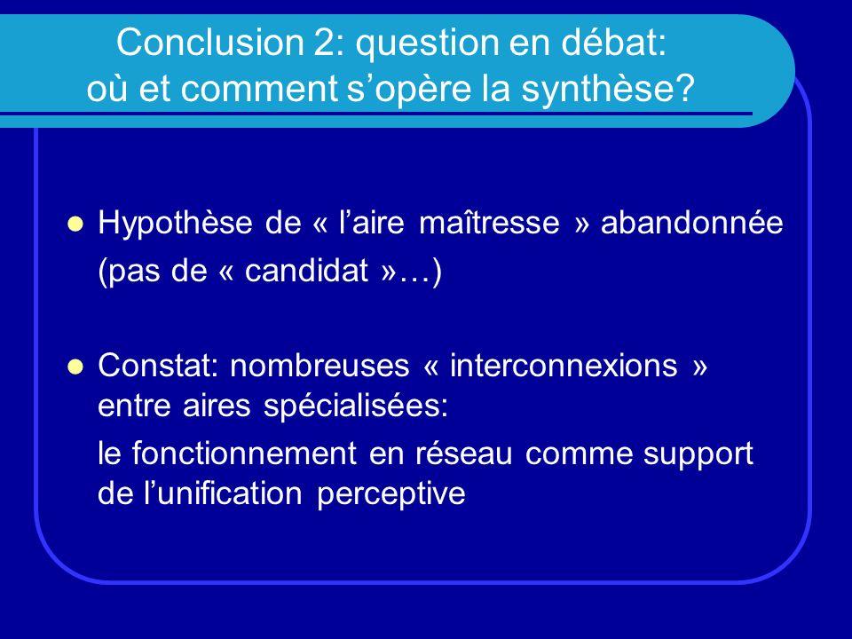 Conclusion 2: question en débat: où et comment s'opère la synthèse
