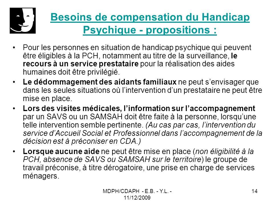 Besoins de compensation du Handicap Psychique - propositions :