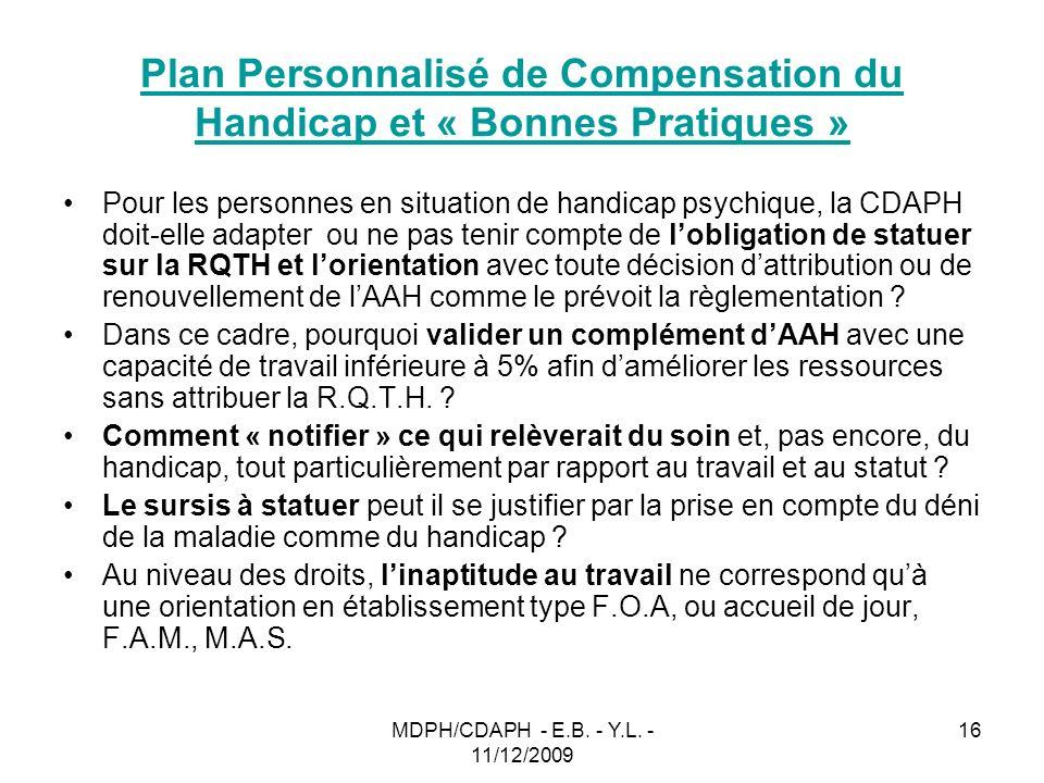 Plan Personnalisé de Compensation du Handicap et « Bonnes Pratiques »