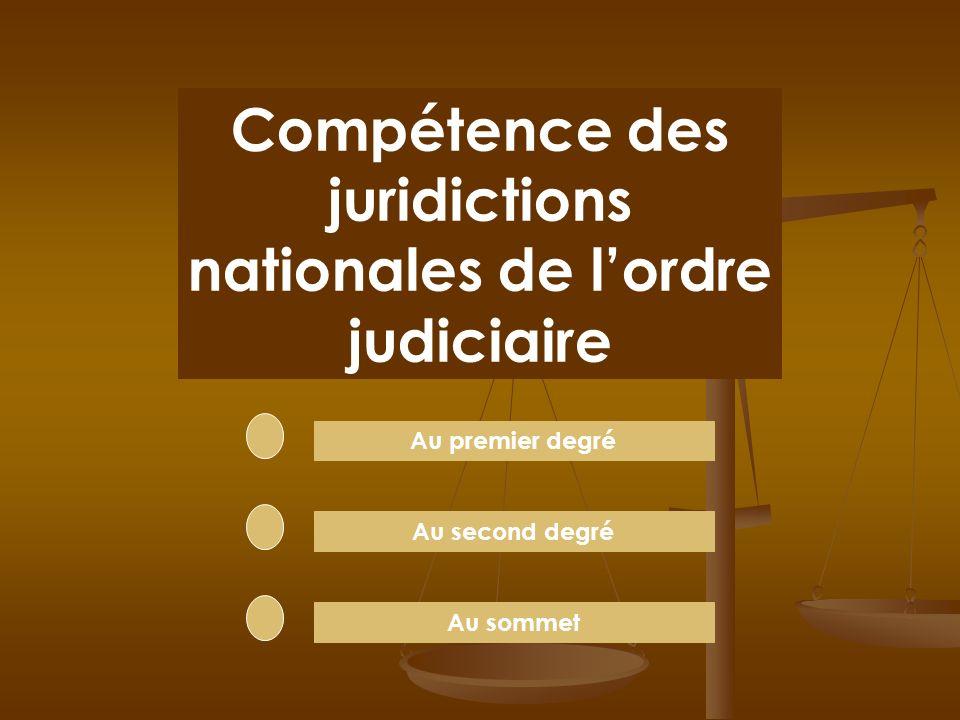 Compétence des juridictions nationales de l'ordre judiciaire