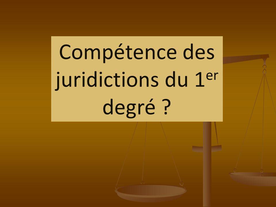 Compétence des juridictions du 1er degré