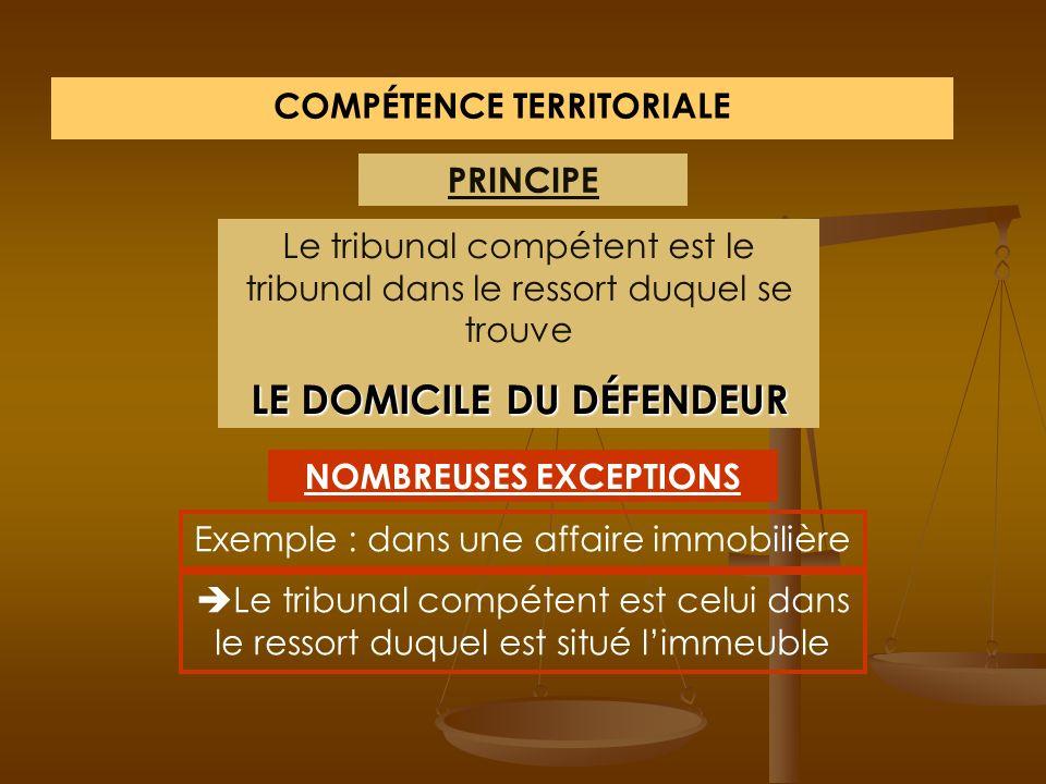 COMPÉTENCE TERRITORIALE LE DOMICILE DU DÉFENDEUR NOMBREUSES EXCEPTIONS