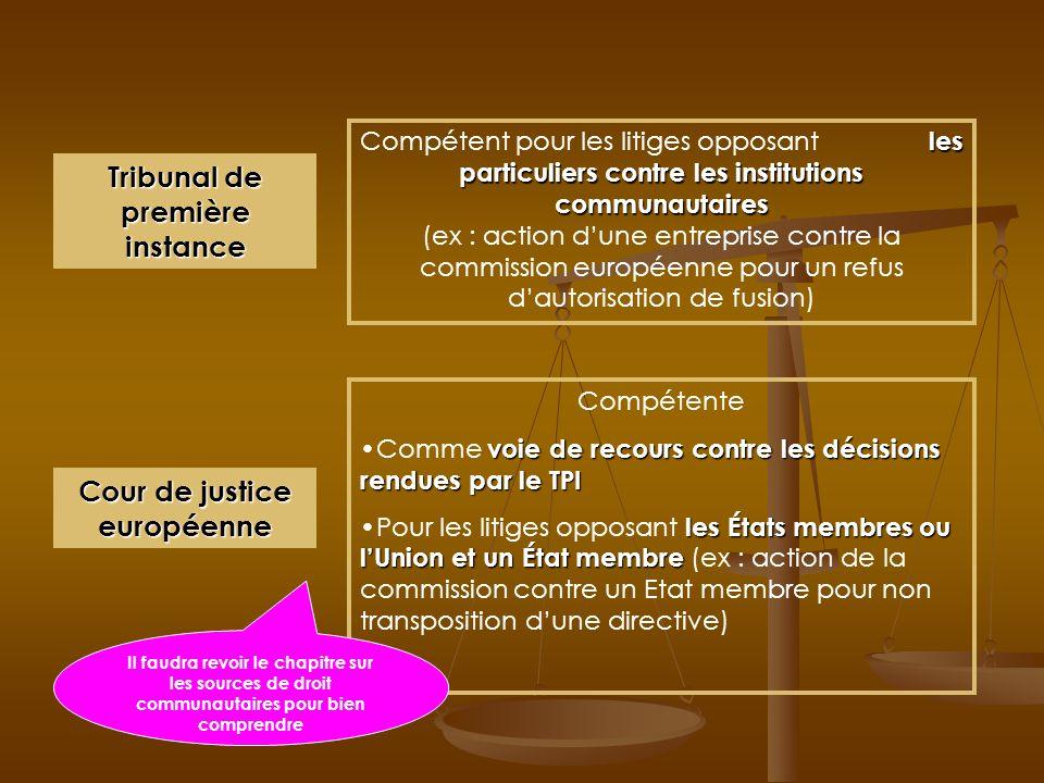 Tribunal de première instance Cour de justice européenne