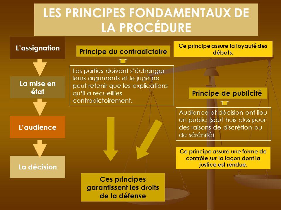 LES PRINCIPES FONDAMENTAUX DE LA PROCÉDURE