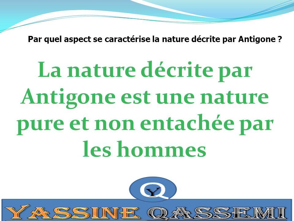 Par quel aspect se caractérise la nature décrite par Antigone