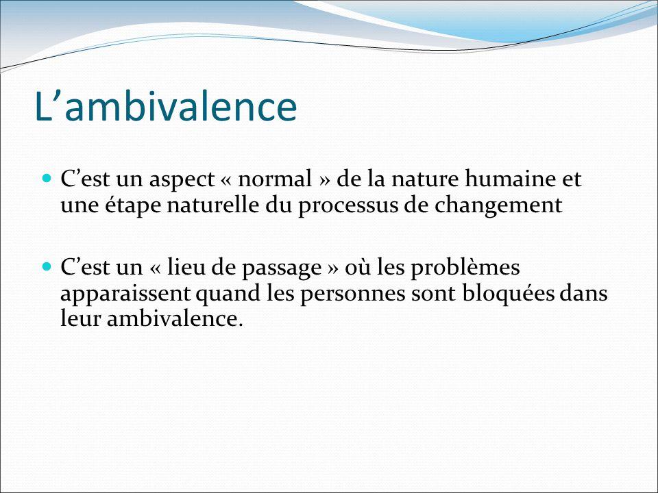 L'ambivalence C'est un aspect « normal » de la nature humaine et une étape naturelle du processus de changement.