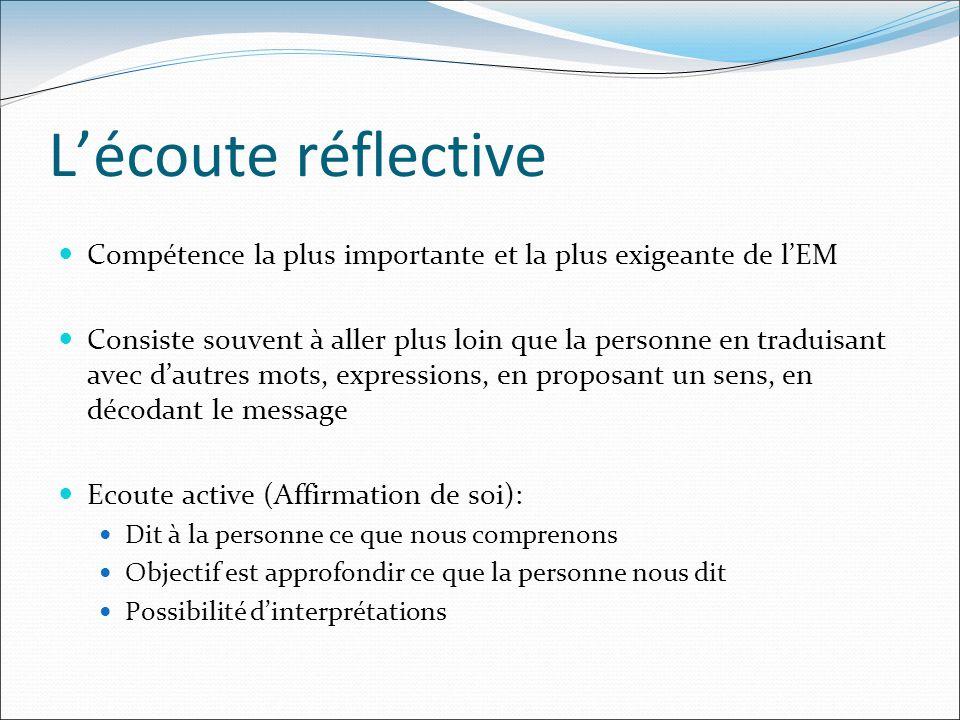 L'écoute réflective Compétence la plus importante et la plus exigeante de l'EM.