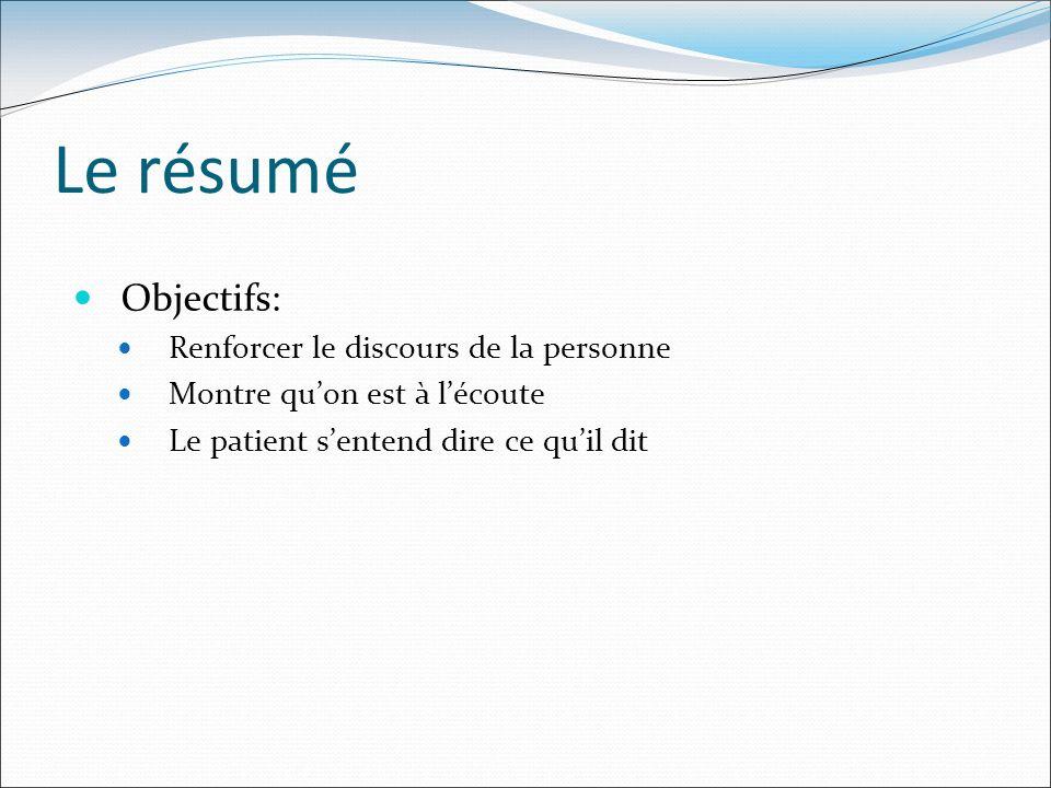 Le résumé Objectifs: Renforcer le discours de la personne