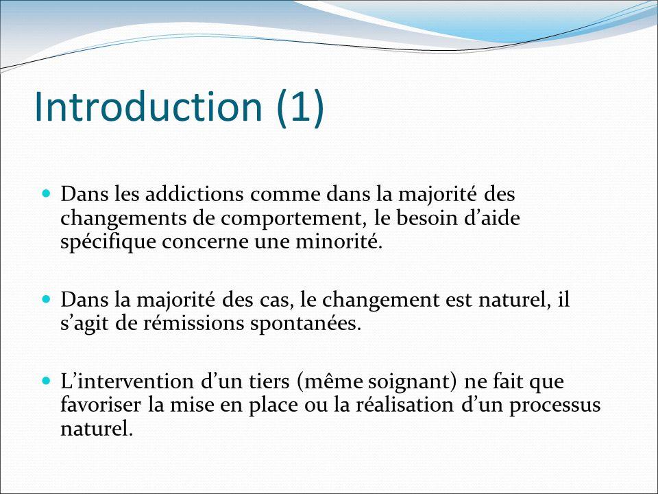 Introduction (1) Dans les addictions comme dans la majorité des changements de comportement, le besoin d'aide spécifique concerne une minorité.