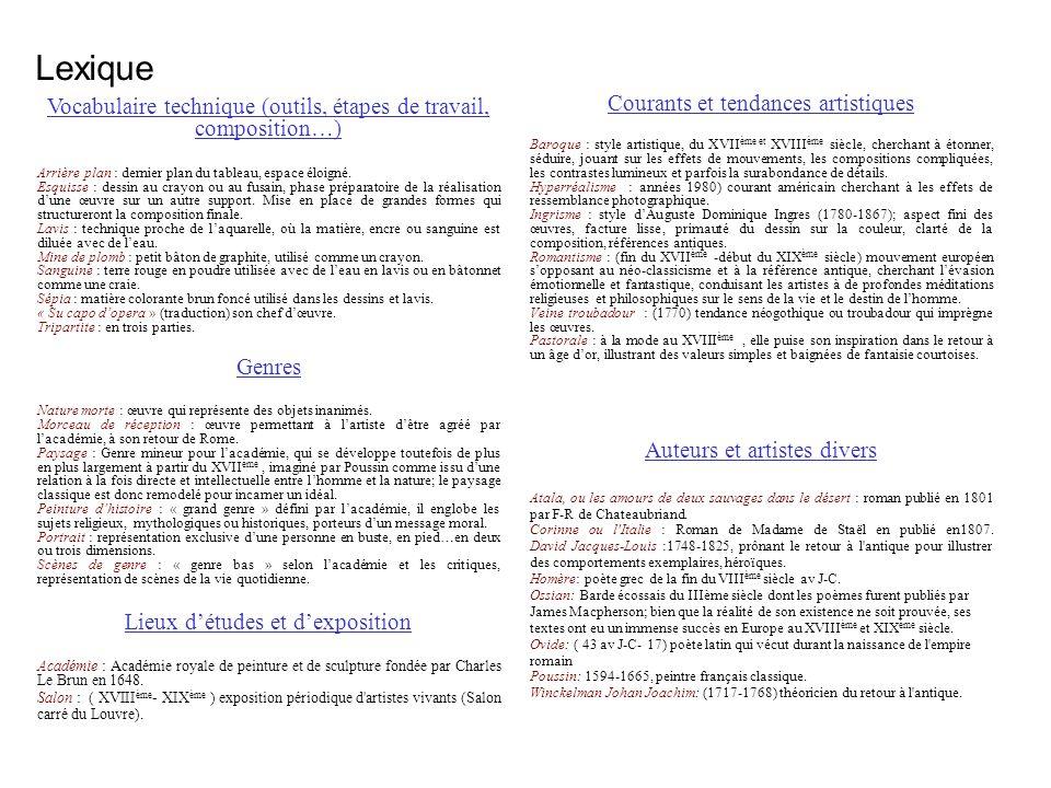 Lexique Vocabulaire technique (outils, étapes de travail, composition…) Courants et tendances artistiques.