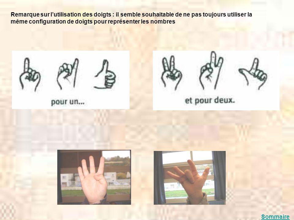Remarque sur l'utilisation des doigts : il semble souhaitable de ne pas toujours utiliser la même configuration de doigts pour représenter les nombres