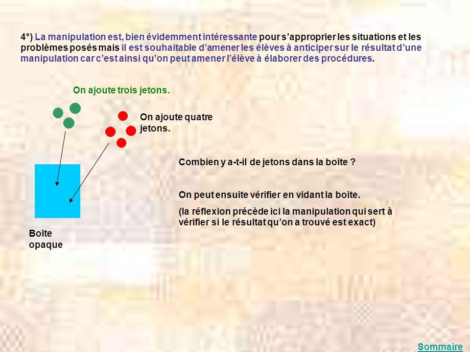 4°) La manipulation est, bien évidemment intéressante pour s'approprier les situations et les problèmes posés mais il est souhaitable d'amener les élèves à anticiper sur le résultat d'une manipulation car c'est ainsi qu'on peut amener l'élève à élaborer des procédures.