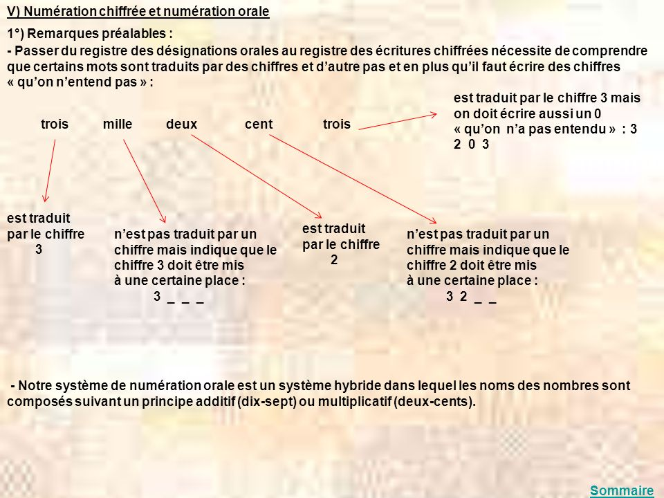 V) Numération chiffrée et numération orale