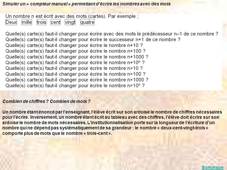 Simuler un « compteur manuel » permettant d'écrire les nombres avec des mots