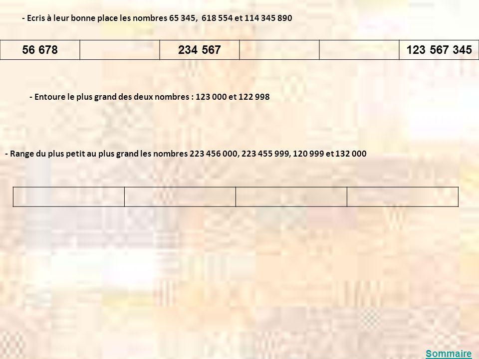 - Ecris à leur bonne place les nombres 65 345, 618 554 et 114 345 890