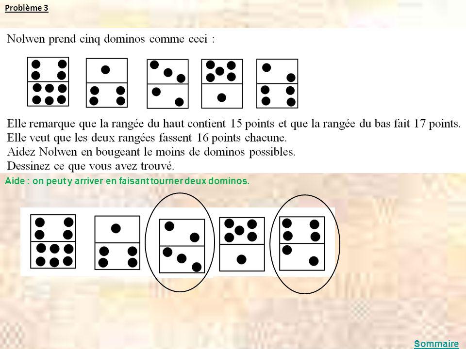 Problème 3 Aide : on peut y arriver en faisant tourner deux dominos. Sommaire