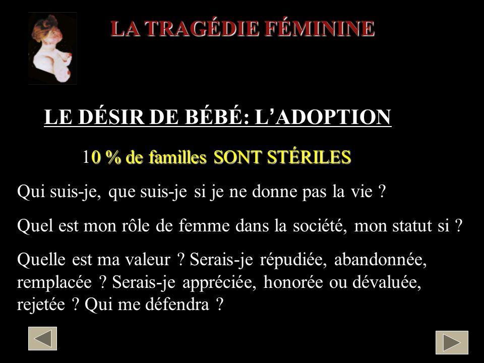 LE DÉSIR DE BÉBÉ: L'ADOPTION 10 % de familles SONT STÉRILES