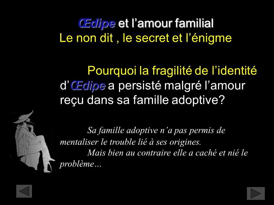 Œdipe et l'amour familial Le non dit , le secret et l'énigme