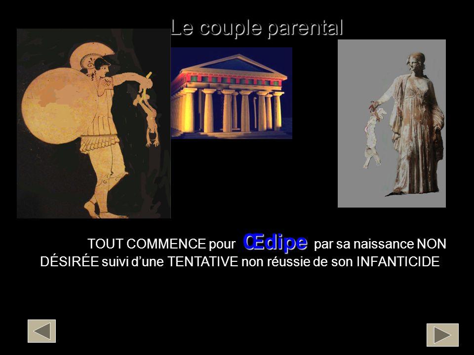 Le couple parental TOUT COMMENCE pour Œdipe par sa naissance NON DÉSIRÉE suivi d'une TENTATIVE non réussie de son INFANTICIDE.