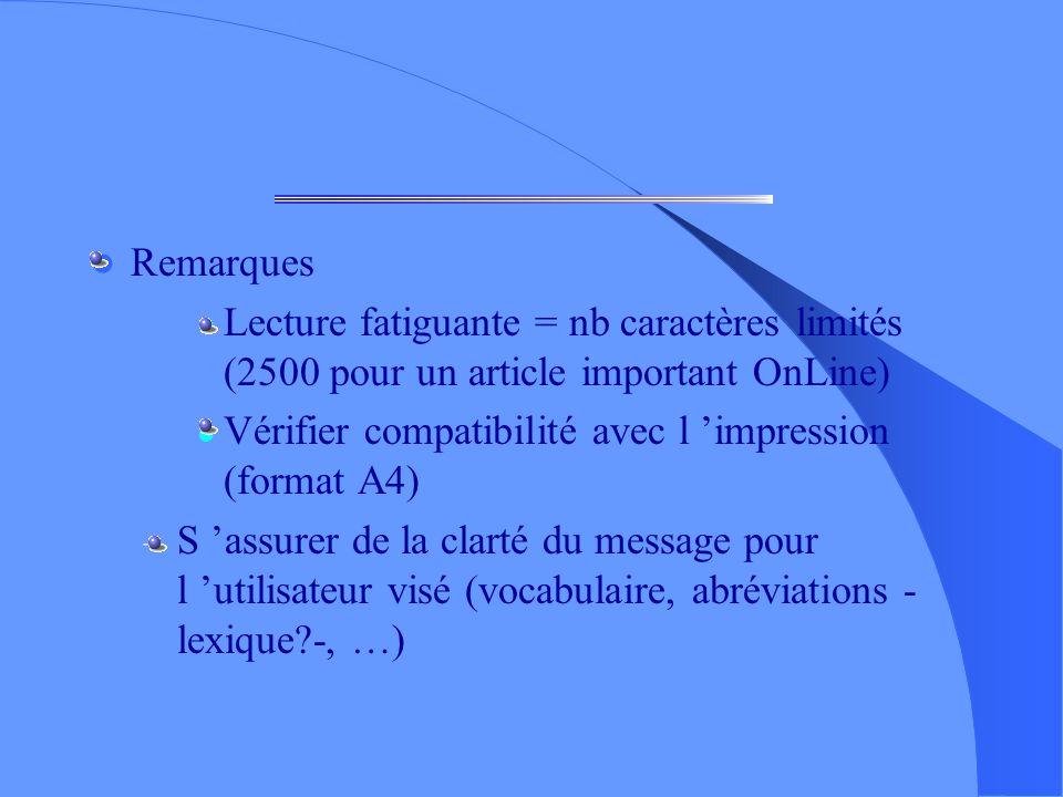 Remarques Lecture fatiguante = nb caractères limités (2500 pour un article important OnLine) Vérifier compatibilité avec l 'impression (format A4)