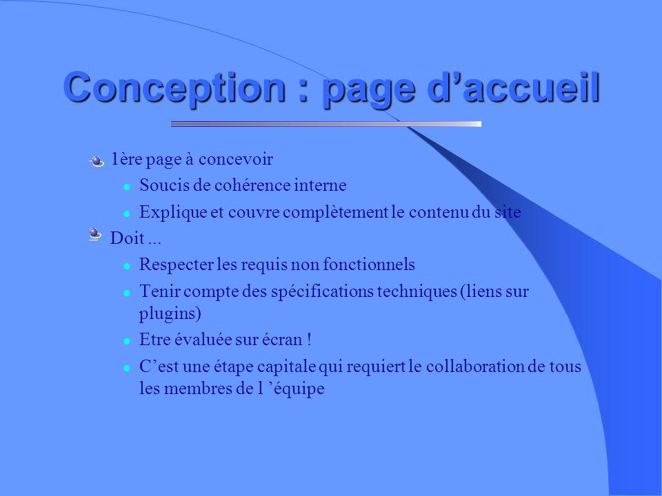 Conception : page d'accueil