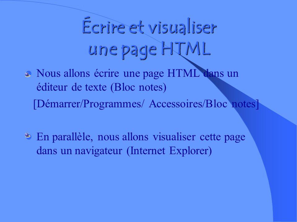 Écrire et visualiser une page HTML