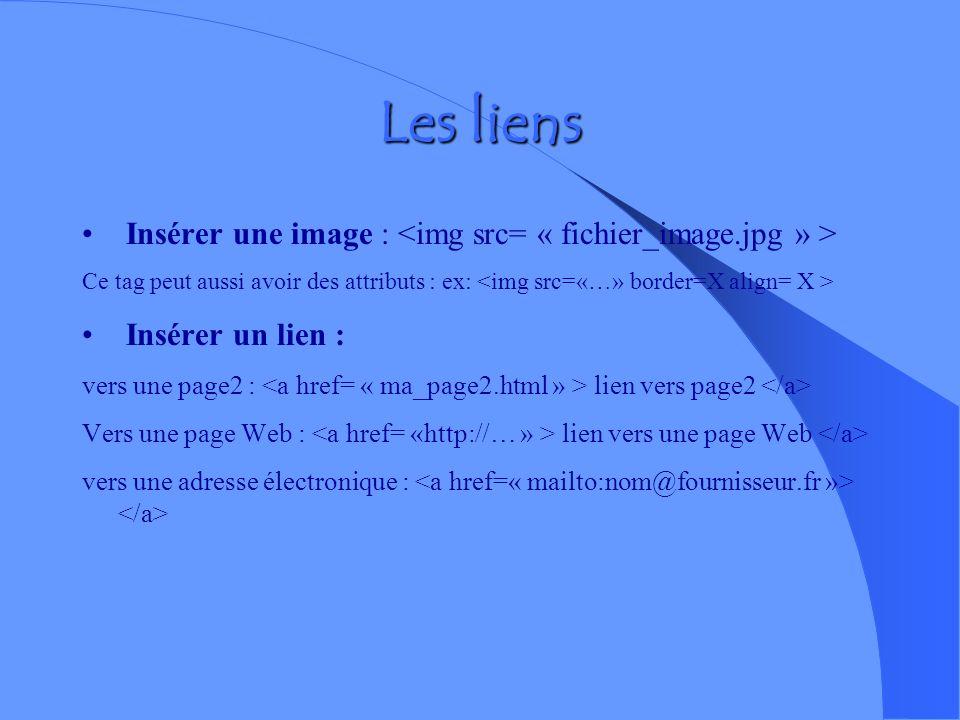 Les liens Insérer une image : <img src= « fichier_image.jpg » >