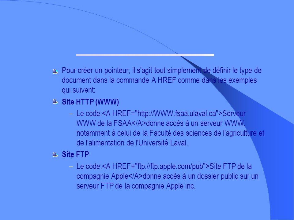 Pour créer un pointeur, il s agit tout simplement de définir le type de document dans la commande A HREF comme dans les exemples qui suivent: