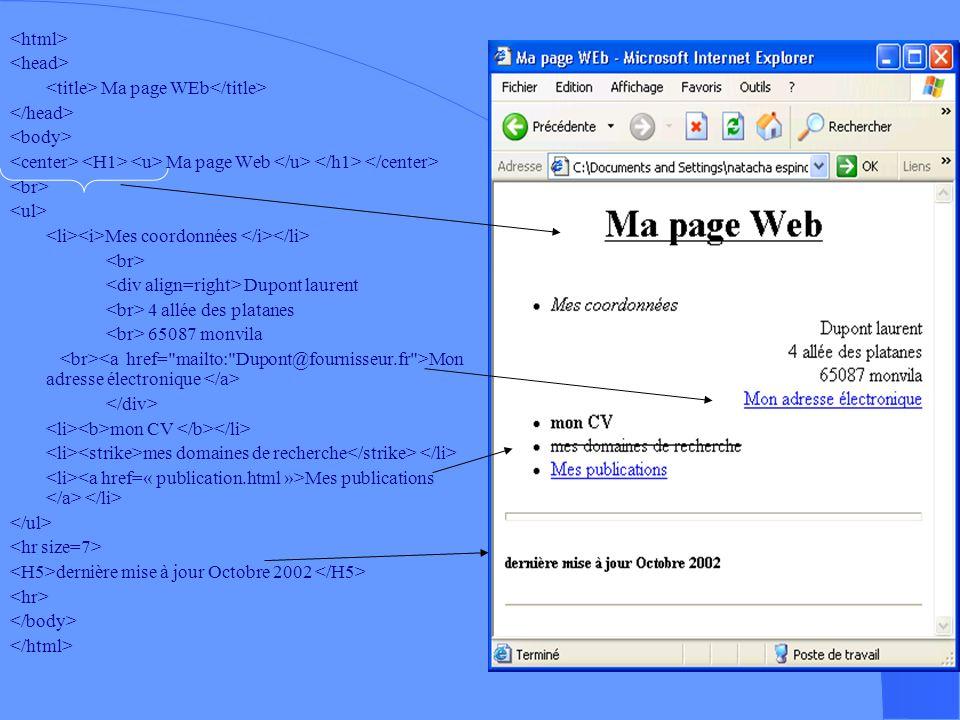 <html> <head> <title> Ma page WEb</title> </head> <body> <center> <H1> <u> Ma page Web </u> </h1> </center>