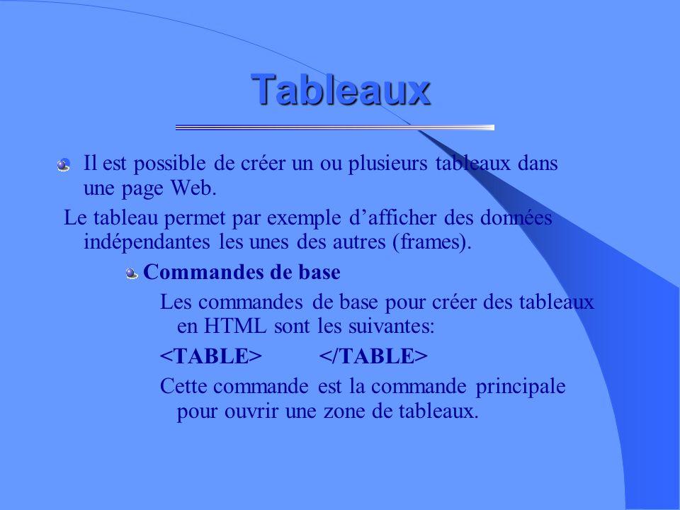 Tableaux Il est possible de créer un ou plusieurs tableaux dans une page Web.