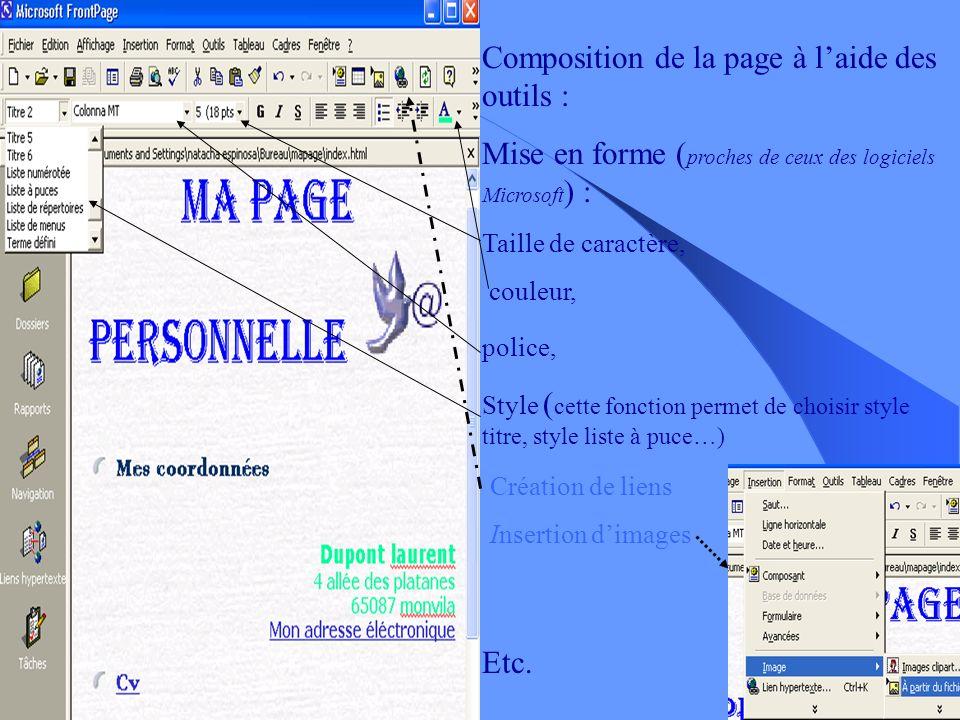 Composition de la page à l'aide des outils :