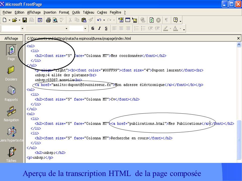 Aperçu de la transcription HTML de la page composée