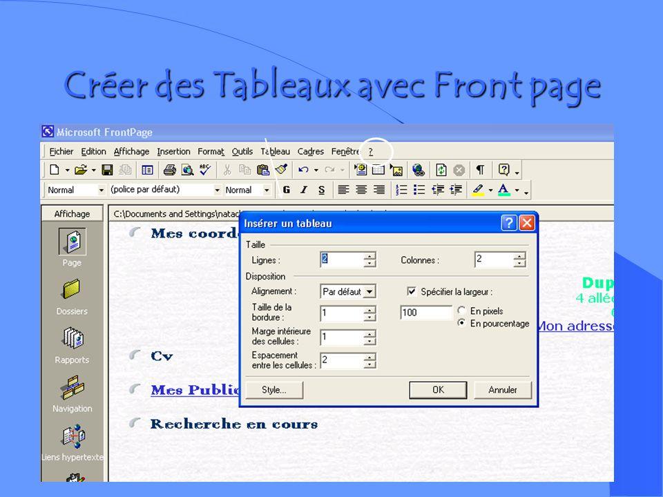 Créer des Tableaux avec Front page