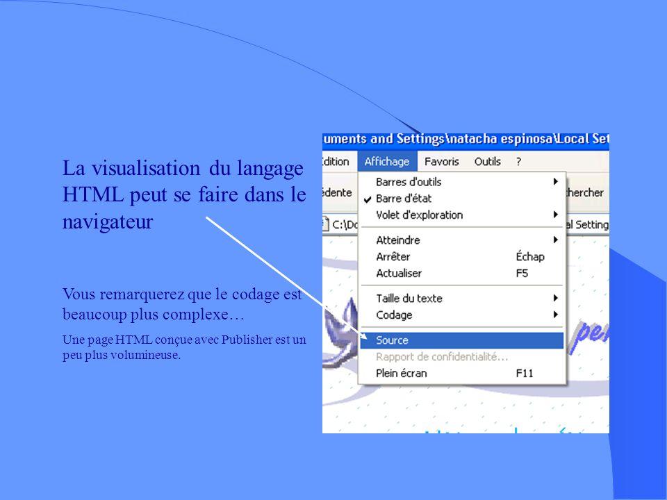 La visualisation du langage HTML peut se faire dans le navigateur