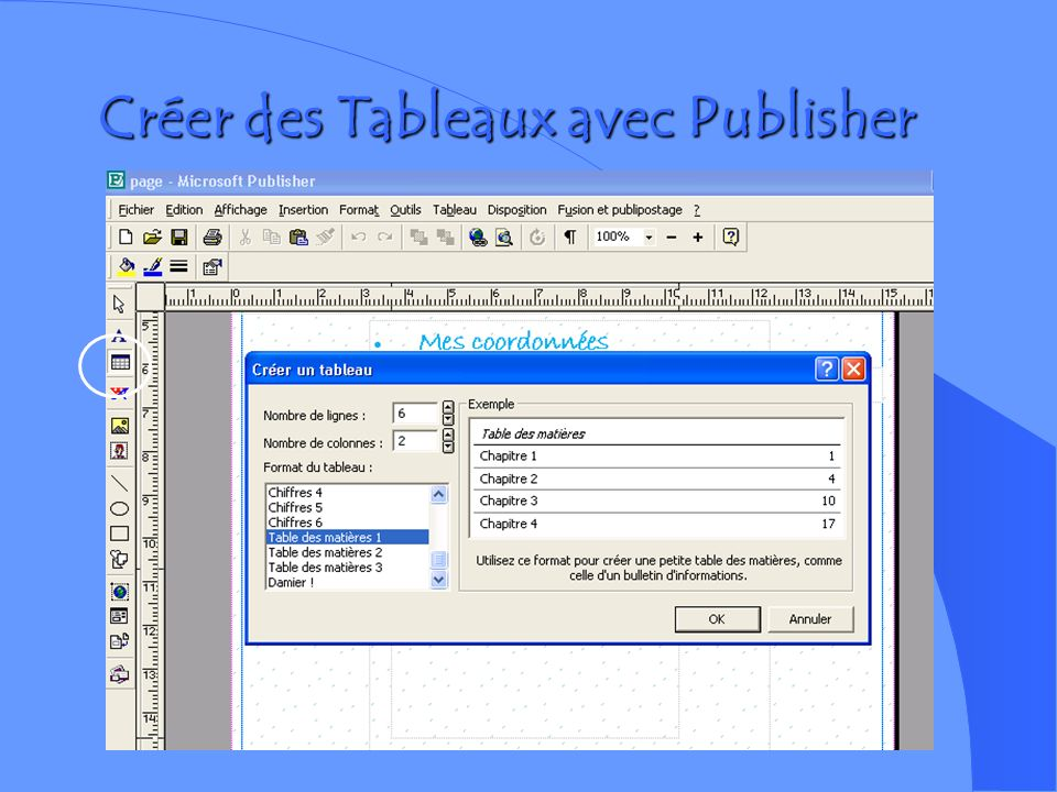 Créer des Tableaux avec Publisher
