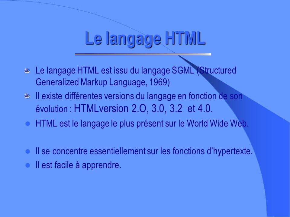 Le langage HTML Le langage HTML est issu du langage SGML (Structured Generalized Markup Language, 1969)