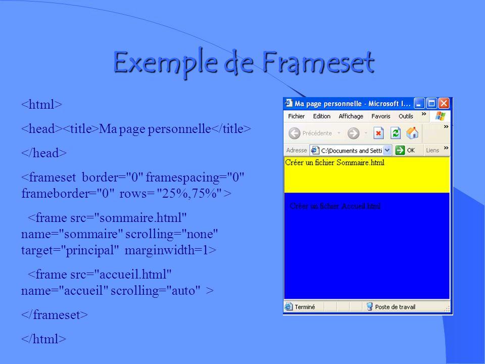 Exemple de Frameset <html>