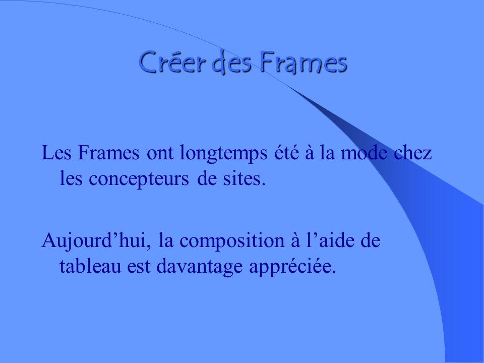 Créer des Frames Les Frames ont longtemps été à la mode chez les concepteurs de sites.