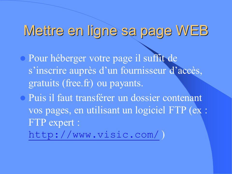 Mettre en ligne sa page WEB